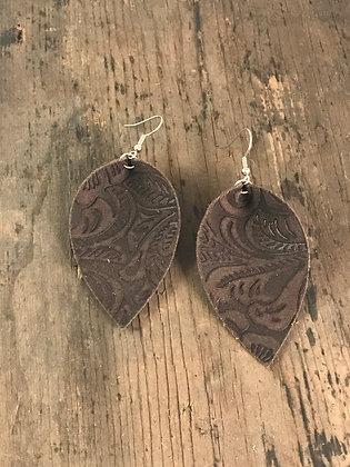 Brown Suede Embossed Earrings