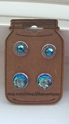 Druzy and Bullet Earrings – 9mm Mermaid Blue
