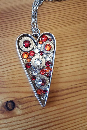 Bullet Long Heart Necklace- Fire