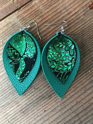 Green Paisley Leather Earrings