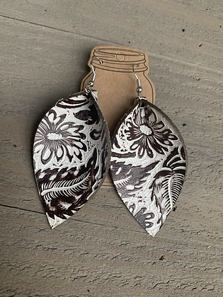 Brown and Cream Western Leather Earrings