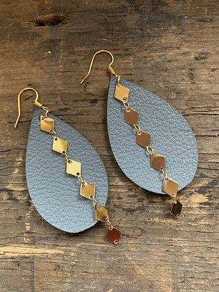 Grey Leather Earrings with Gold Diamond Chain