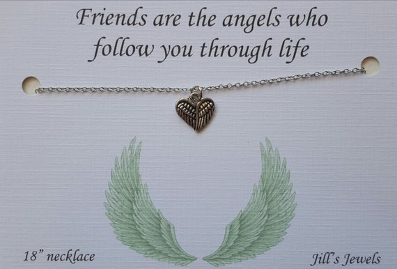 Friends Are Angels Hear Necklace