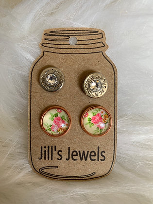Rose gold floral and 38 special Earring Set