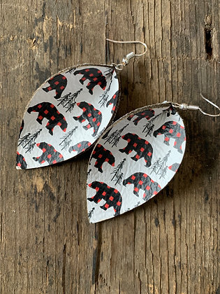 Buffalo Check Plaid Bear Earrings