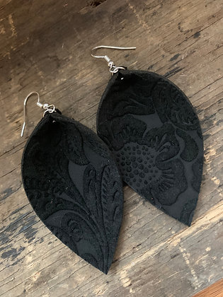 Black Suede Carved Floral Leather Earrings