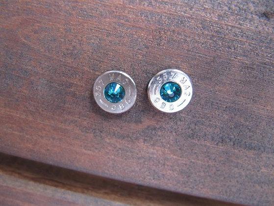 Bullet Earings-357 Teal Swarovski