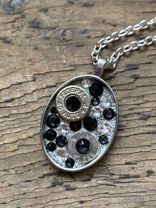 Black and Clear Oval Bullet necklace