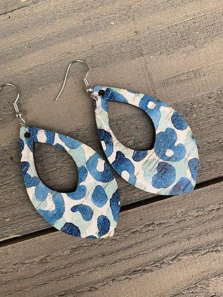 Blue Watercolor Leopard Cork Teardrop Earring