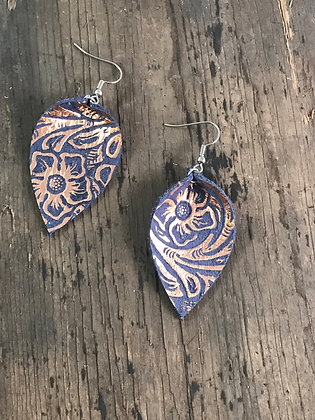 Purple and Gold Leather Earrings