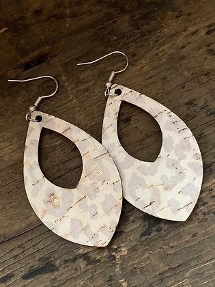 Neutral Tan Leopard Print Cork Teardrop Earring