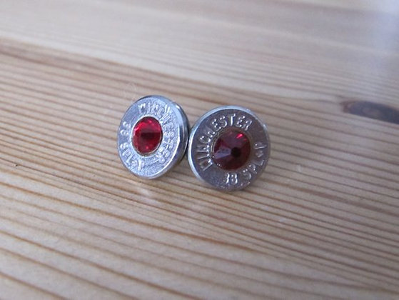 Bullet Earrings- 38 Cal Siam Red Swarovski Crystal
