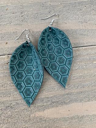Emerald Green Honeycomb Leather Earrings