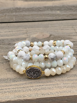 White Gemstone Triple Stacked Stretch Bracelet Set