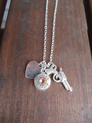 Bullet Necklace with Pistol Charm