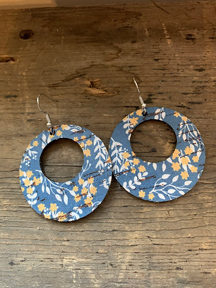 Blue and Yellow Floral Cork Hoop Earring
