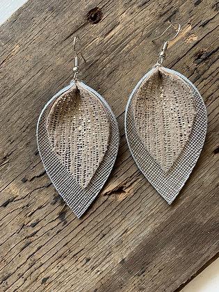 Double Silver rain leather earrings
