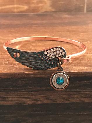 Antique copper feather bracelet