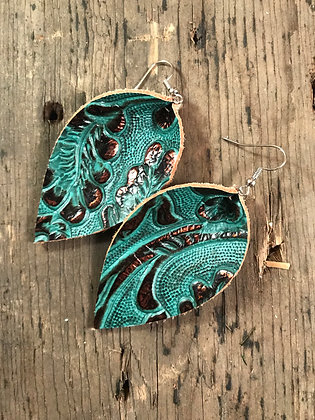 Teal and Copper Leather Earrings