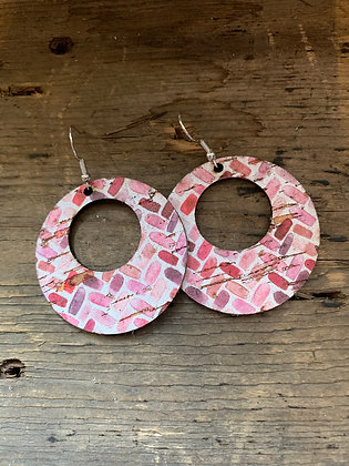 Pink Chevron Cork Hoop Earring