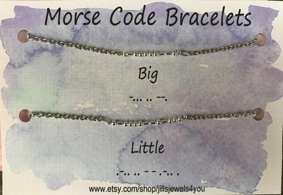 Morse Code Bracelet- Big Little Set