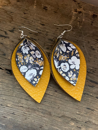Mustard and Navy Poppy Double Layer Leather Earrings