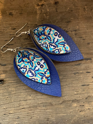 Blue and Teal Mosaic Double Layer Leather Earrings