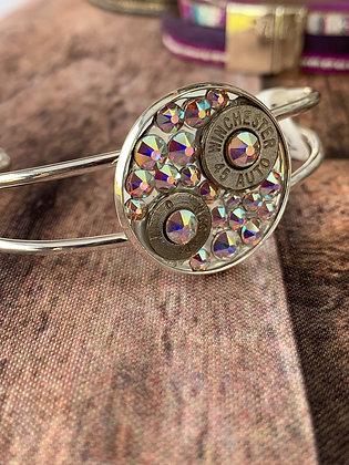 Round bullet cuff with AB Swarovski crystals
