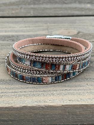 Teal Blue Brown Rhinestone Double Wrap Magnetic Bracelet