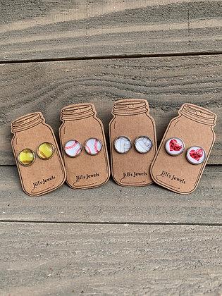 Baseball, Softball, Volleyball and Baseball Mom Stud Earrings