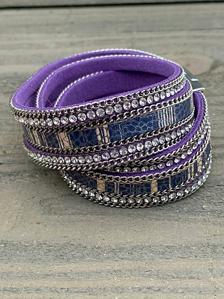 Purple Rhinestone Double Wrap Magnetic Bracelet