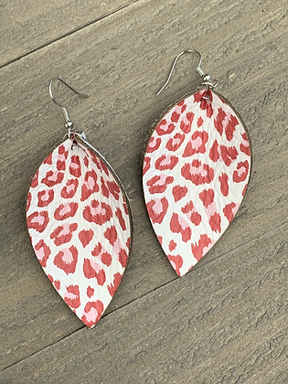 Red and Pink Leopard Leather Earrings