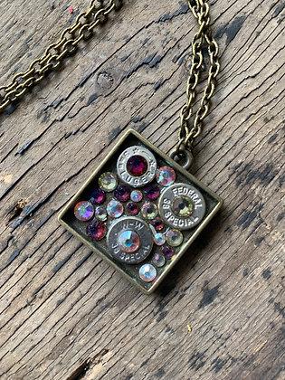 Square Antique bullet necklace