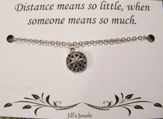 Long Distance Friendship Compass Necklace