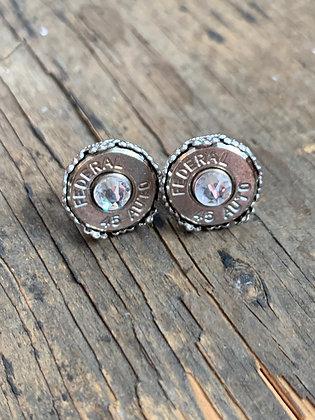 Silver Crown 45 Auto Bullet Earrings