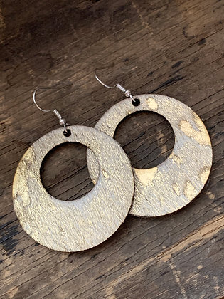 copy of Hair on Gold Acid Wash Leather Hoop Earring