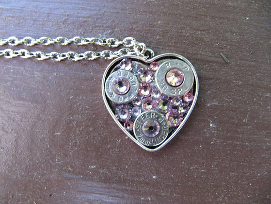 Rhinestone Bullet Heart Necklace- Pink Pride