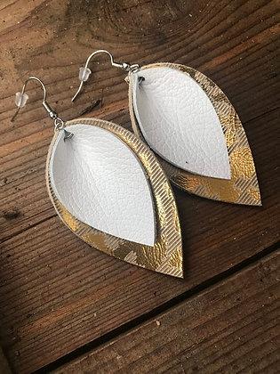 White and Gold Boho Earrings