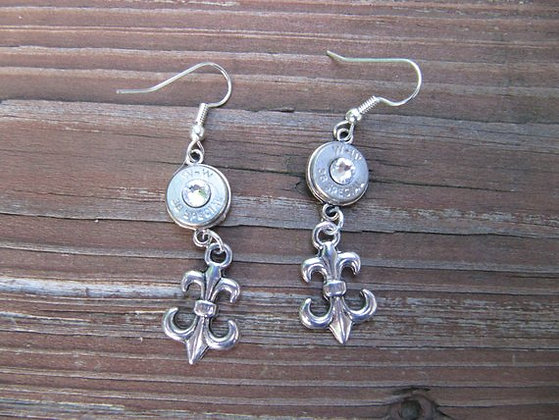 Bullet Earrings-38 Special Fleur De Lis