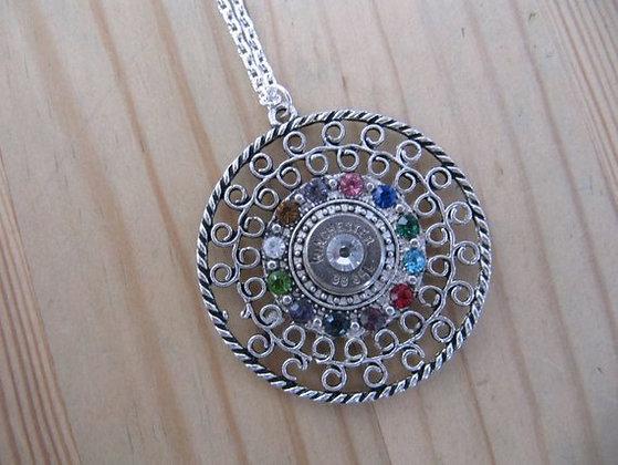Bullet Pendant Necklace with Rainbow Swarovski