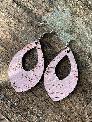 Rustic Light Pink Cork Teardrop Earring