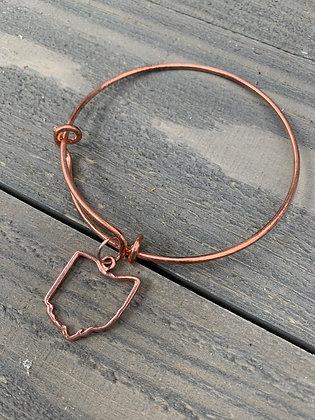 Rose Gold Ohio Cutout Bangle Bracelet
