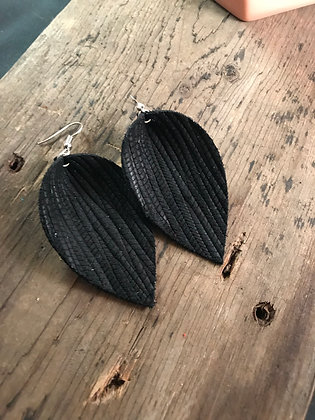 Black palm leaf textured leather earring