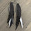 Thumbnail: Silver and Grey Leopard Stacked Fringe Feather Earrings