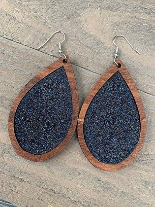 Navy Blue Glitter and Wood Teardrop Earrings