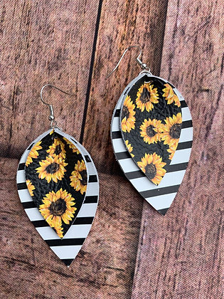 Sunflower and stripes leather earrings