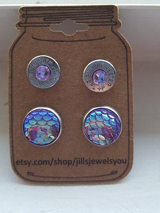 Druzy and Bullet Earrings-38 Special Lilac Mermaid