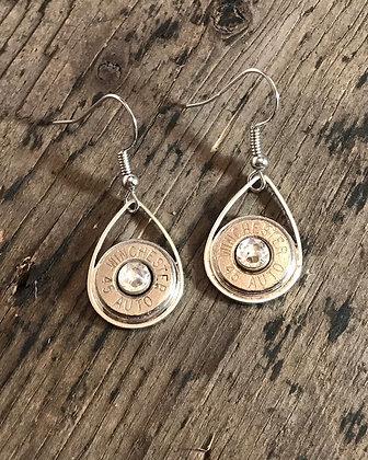 45 caliber silver tear drop bullet earrings