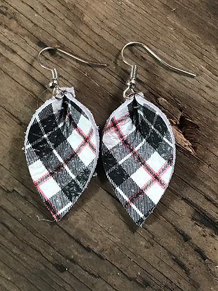 White, black and red plaid leather earrings