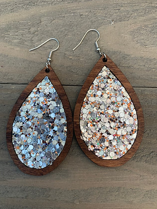 Silver and Copper Glitter Cork and Wood Teardrop Earrings